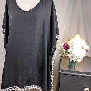 ADreamly Black Caftan Coverup with pom-poms New